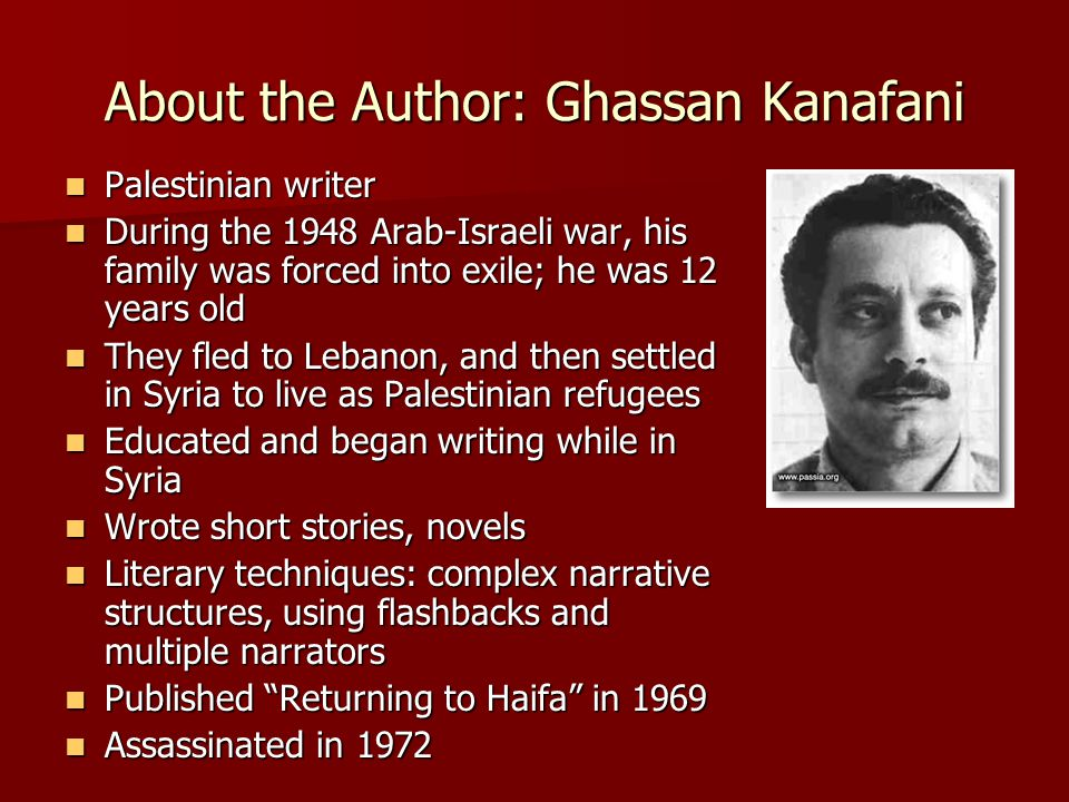 About The Author,Ghassan Kanafani,Palestinian Writer,Palestinian,Writer of Palestinian,Arab - Israeli,Arab Israeli War,Arab Israeli,Syria,Short Stories,Novels,Returning To Haifa,Ghassan,Kanafani