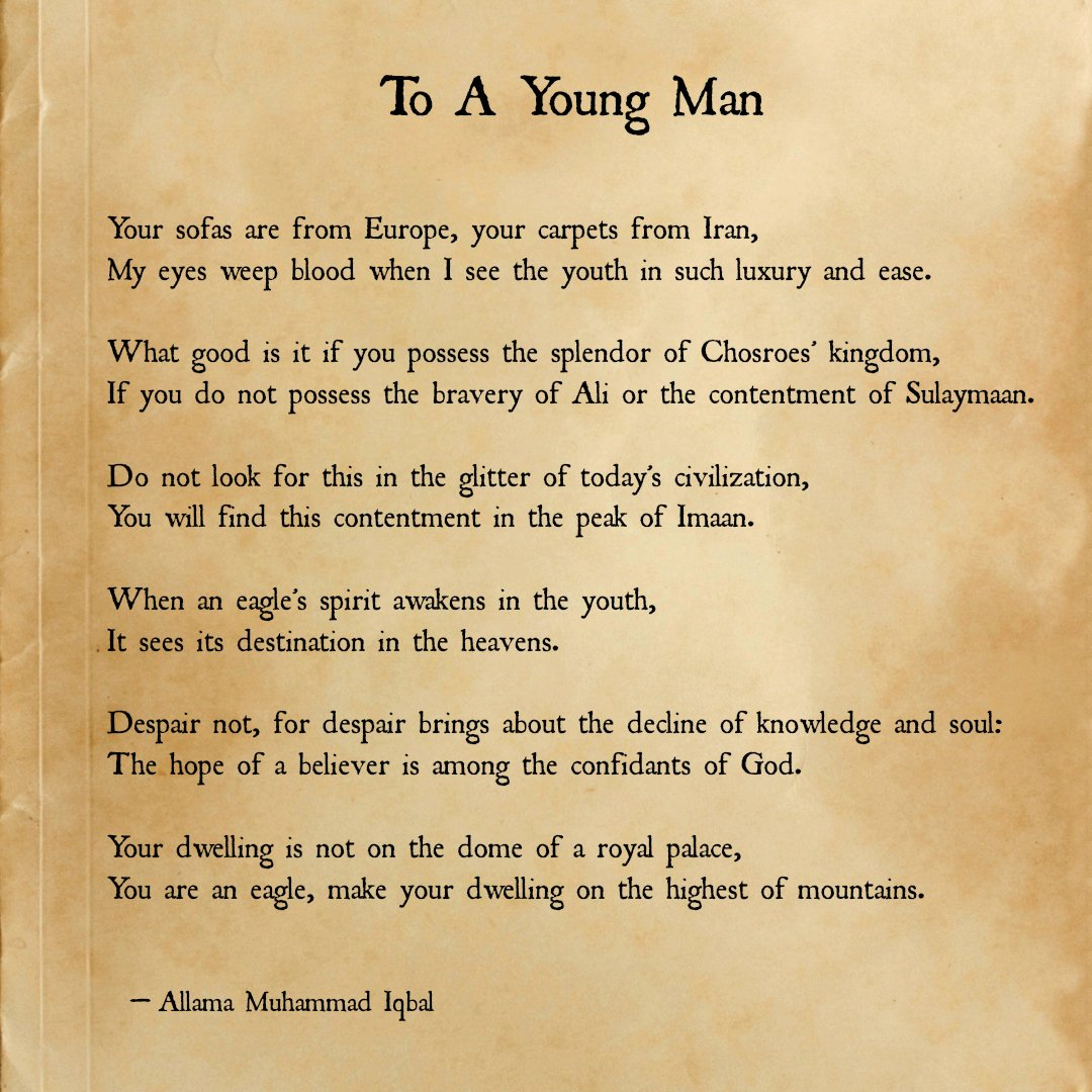 Allama Iqbal,Allama,Iqbal,Allama Muhammad Iqbal,Pakistan,Poet,Poetry,Thinker,To a young man by Allama Iqbal,Allama Iqbal To Young Man,Iqbal Poetry In English,Poetry in English,Allama Iqbal Poetry Translation In English