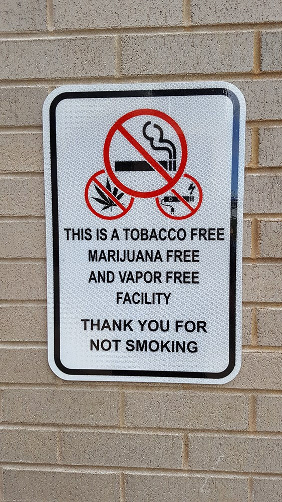 Tabacco free,no smoking,marijuana,vape,thank you for not smoking,